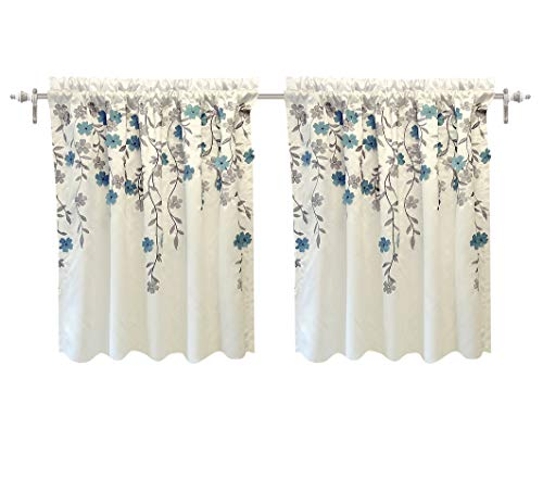 Price comparison product image DriftAway Isabella Faux Silk Embroidered Kitchen Tiers Embroidered Crafted Flower 2 Tiers 30 Inch by 24 Inch Plus 1.5 Inch Header Ivory Blue