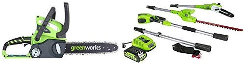 Greenworks 12-Inch 40V Cordless Chainsaw, Battery Not Included 20292 with  8.5' 40V Cordless Pole Saw with Hedge Trimmer Attachment 2.0 AH Battery Included PSPH40B210