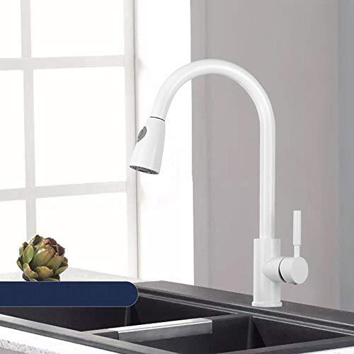 Grifo de cocina con ducha extraible, todo cobre, fregadero de cocina monomando grifería 360° giratorio 2 modos, grifo-Blanco