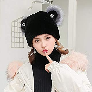 Autumn and Winter New Ladies Fur Hat Korean Version Cute Rabbit Fur Cat Ears Cap Black