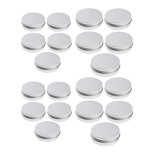 B Baosity 20pcs 5ml + 15ml Boîtes en Aluminium Argentées Vides Pot de Baume à Lèvres