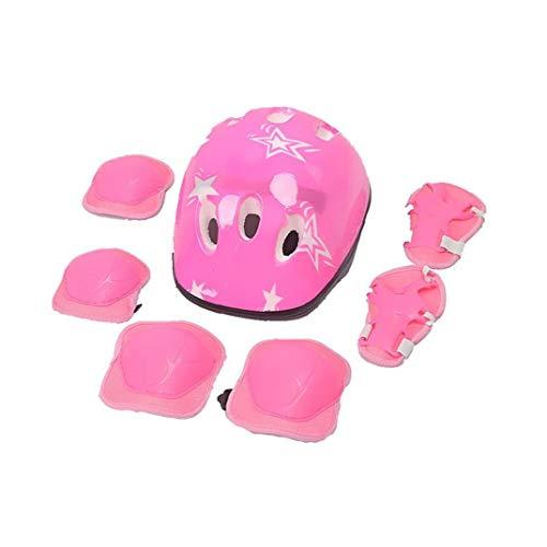 Kinderschutzausrüstung Set Sport Sicherheits-Ausrüstung Verstellbare Kinderhelm Knieellenbogenschutz Handgelenkschutz für Skating Rosa 7pcs
