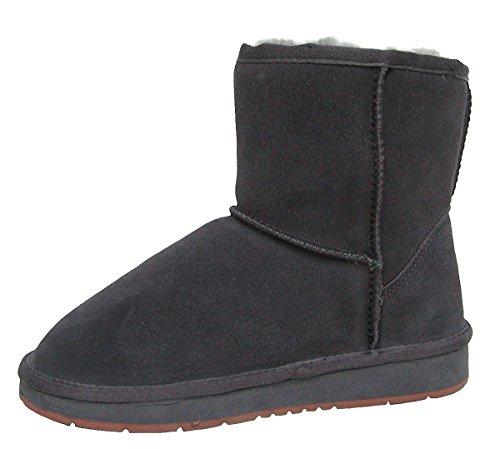 HEITMANN Felle Damen Lammfell Leder Winter Boots anthrazit, warme Laufsohle, Trendige Profilsohle, Lammfell Futter, Gr. 43