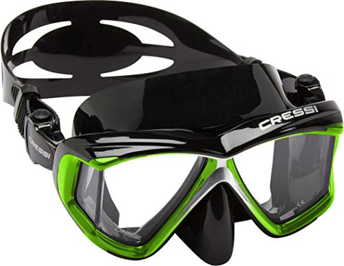 Cressi Panoramic 4 Windows Scuba Dive Mask, with Side View, Lime Green/Black