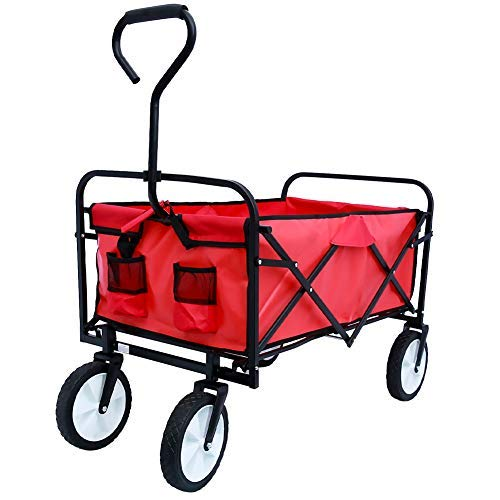 Collapsible Folding Utility Wagon Compact Outdoor Garden Camping cart Heavy Duty Portable Grocery cart Buggies…
