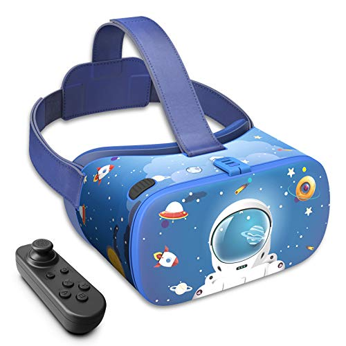 DESTEK Occhiali VR per bambini, 3D Educational 110°FOV Anti-Blue Light Eye Protection HD Virtual Reality Headset per iPhone e Samsung, con controller Bluetooth per Android