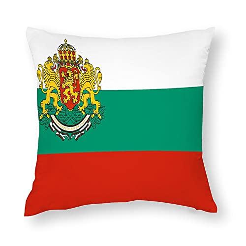 Kissenbezug mit Flagge von Bulgarien, quadratisch, dekorativer Kissenbezug für Sofa, Couch, Zuhause, Schlafzimmer, drinnen & draußen, 45,7 x 45,7 cm