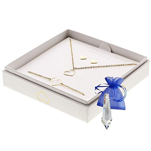 Cadeauset hart halsketting + armband + oorstekers 14 karaat verguld in geschenkdoos sieraden roestvrij staal + kristal slinger in zakje geschenk