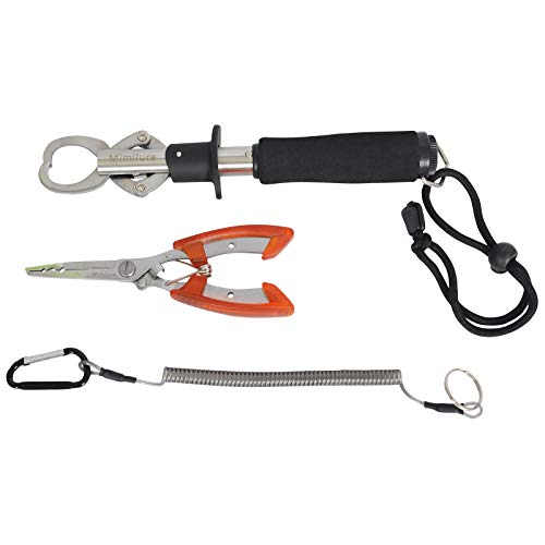 Pescado Lip Grabber Pinza Grip con sedal de peso escala, y pesca alicates herramientas de acero inoxidable, Fish Grip with Scale