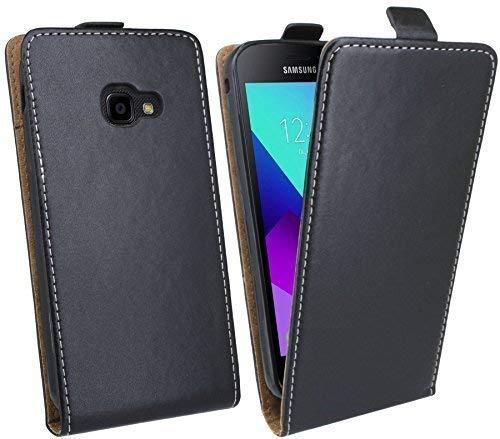 cofi1453® Handytasche Flip Style kompatibel mit Samsung Galaxy XCOVER 4 (SM-G390F) in Schwarz Klapptasche Hülle
