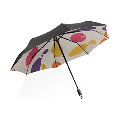 Golfschirm Kinder Spiel Retro Weiß Sport Bowling Ball Tragbare Kompakte Taschenschirm Anti Uv Schutz Winddicht Outdoor Reise Frauen Kinder Regenschirme Für Regen Jungen