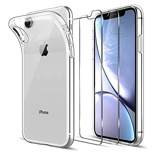 LK Cover Compatibile con iPhone XR Custodia, 2 Pezzi Pellicola Protettiva in Vetro Temperato, Morbida in Silicone Flessibile Cristallo Limpido Trasparente Slim Protezione Case, HD Chiaro