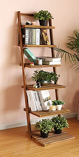 Book Shelf 6-Tier Ladder Shelf-Plant Stand Storage Organizer,Bookcase Display Shelf,Standing Wooden Shelves for Living Room, Home Office, Rustic Brown