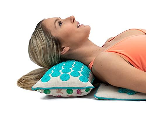 Core Asana Almohada de acupresión, cojín de masaje de acupuntura para alivio del dolor de cuello/pies, almohada de ejercicio en varios colores (algodón turquesa-natural)
