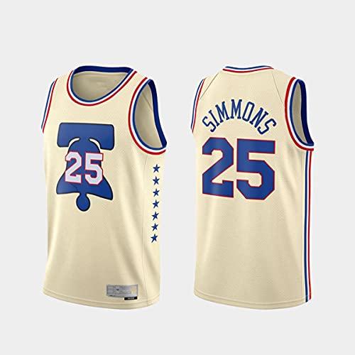 CYYX NBA Men's Jersey, Filadelfia 76ers # 25 Ben Simmons Classic Jersey Transpirable Resistente al Desgaste Baloncesto Baloncesto Baloncesto Swingman Jerseys,A,M
