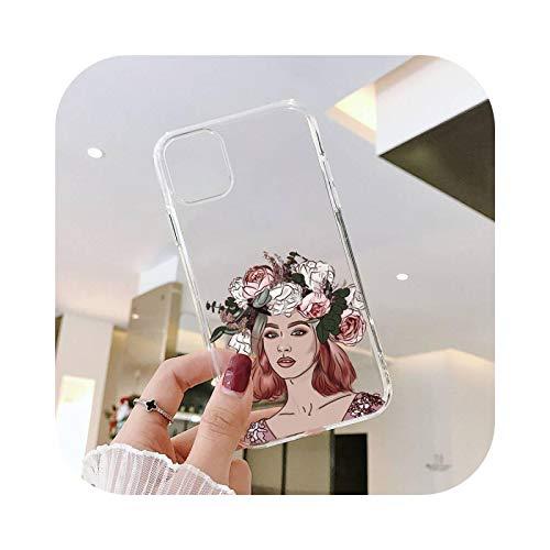 Sunflower Girl - Funda transparente para iPhone 11 12 mini Pro XS MAX 8 7 6 6S Plus X 5S SE 2020 XR-a8-7plus u 8plus
