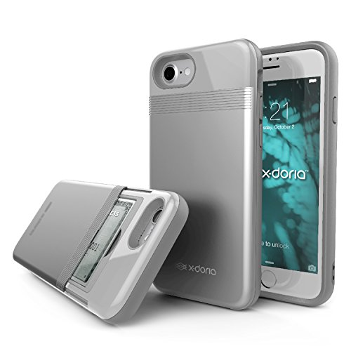 iPhone 8, iPhone 7 Case, X-Doria Stash Series - Hard Shell Hidden Wallet, Utility Case for Apple iPhone 8 & iPhone 7, [Silver]
