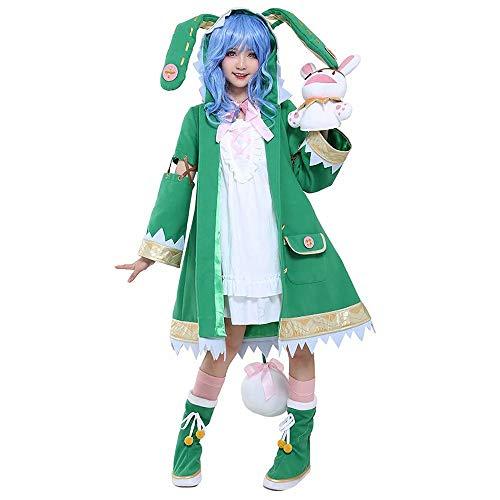 Luminous1128 Date·A·Live Cosplay Kostüm Yoshino Cosplay Kostüm Hasenohren Hasenohren Ohren Späte Kapuze Jacke Trenchcoat Grün Viktorianische Gotik Lolita Jacke Kleid Cosplay Kostüm