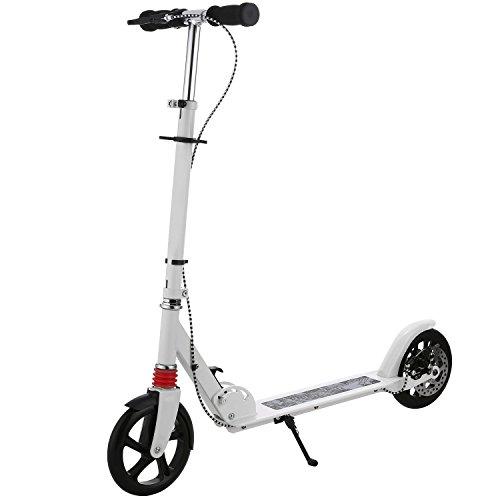 A2 Erwachsener Cityroller/Tretroller/Scooter/Roller mit 3 Sekunden Klapp System,große Räder,verstellbarer Lenker,Scheibenbremsen, leichtes Kick Roller mit Aluminium T-Rohr und Fußständer,bis 220 lbs