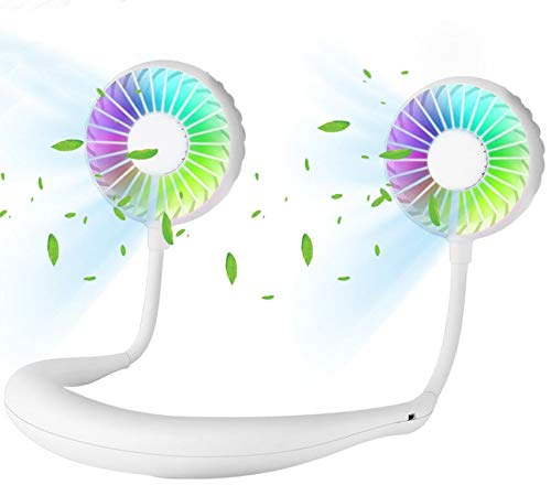 Neck Fan, VOSTOR Portable USB Rechargeable LED Fan, Hand Free Personal Wearable Fan with Aromatherapy, Headphone Design Cooler Fan for Sport, Office, Home, Outdoor, Travel, etc. (White)