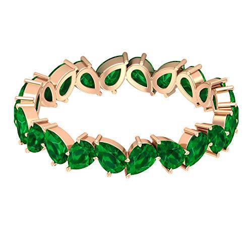 Anillo en forma de pera, único anillo de esmeralda de 3.3 quilates, anillo de piedra natal delicado mayo, anillo de boda de dama de honor, anillo de aniversario de mujeres, 14K Oro rosa, Size:EU 65