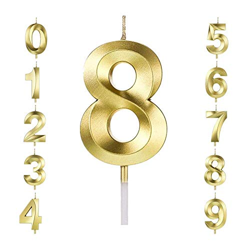 LUYIPITA Gold Birthday Cake Candles Numeral Cake Candles 0-9 Cake Topper Decoration for Birthday Wedding Anniversary Parties Kids Adults (Number8)