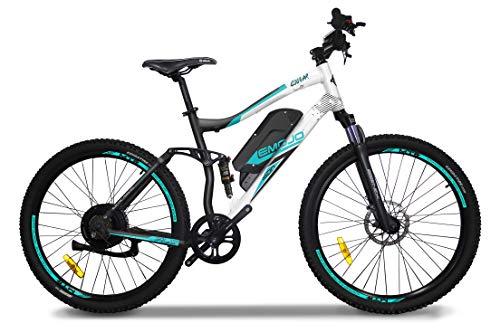 Emojo Bikes Cougar Electric Off-Road Bike/Mountain E-Bike, Lightweight Aluminum Frame with 500W Power Motor, Dual Tektro Disc Brake and 27-Speed Shimano Gearing (White)