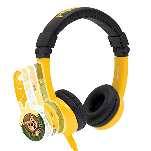 Explore Foldable Volume Limiting Kids Headphones | Built in Headphone Splitter and In Line Mic | For Tablets and Computers | Yellow