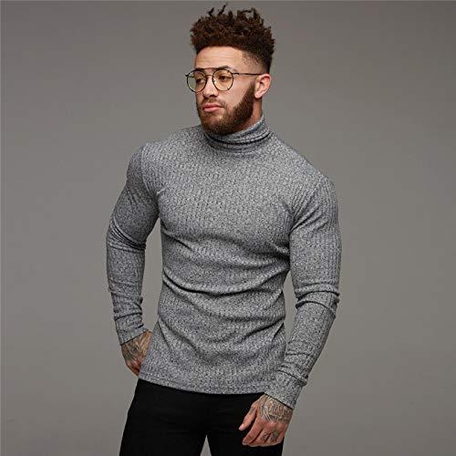 Moda Invierno Cálido Suéter Hombres Cuello Alto Suéteres para Hombre Slim Fit Pullover Hombres Clásico Sweter Hombres Prendas De Punto Pull Homme XXL Gris