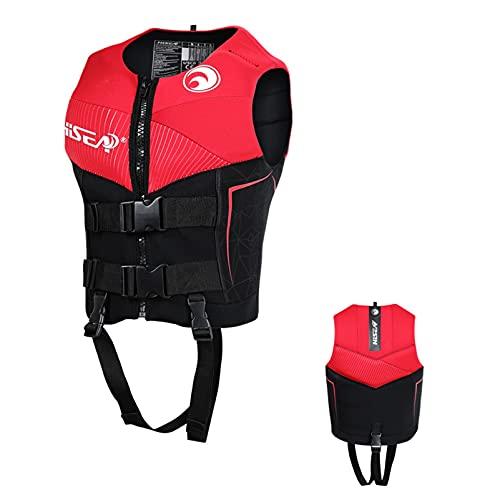 HLYT-0909 Chalecos salvavidas para adultos, chaleco salvavidas de neopreno, chaleco salvavidas para natación, velero, kayak, rojo, XS