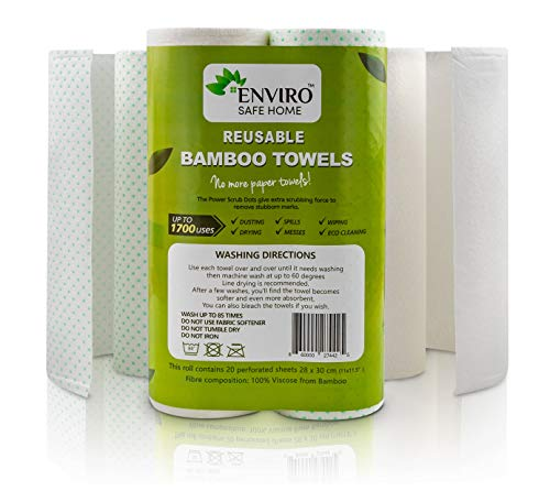 Reusable Paper Towels Washable Roll - Bamboo Paper Towels are Eco Friendly, Heavy Duty, Biodegradable - Lint Free Kitchen Paper Towel -2 Pack, 40 Sheets