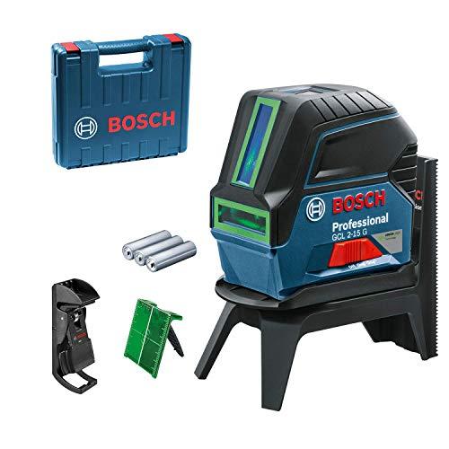 Bosch Professional Kreuzlinienlaser GCL 2-15 G (grüner Laser, mit Lotpunkten, Arbeitsbereich: 15 m, 3x 1,5 V-LR6-Batterien, Drehhalterung RM 1 Professional, Laserzieltafel)