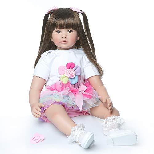 ZIYIUI 24 Pollice 60cm Bambole Reborn Femmine in Silicone Morbido Realistico Occhi Aperti Neonato Bambino Bambola Capelli Lungo Baby i Regali per Bambini