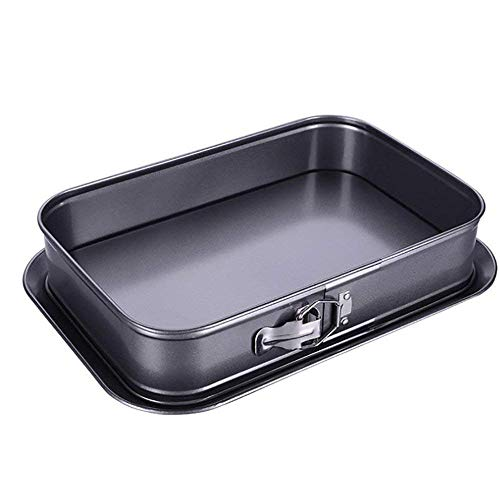 Non-Stick Cheesecake Pan, Springform Pan, Rectangle Cake Pan with Removable Bottom Leakproof and Quick Release Latch Bakeware 14 inches 9.3 inches 3 inches Black …