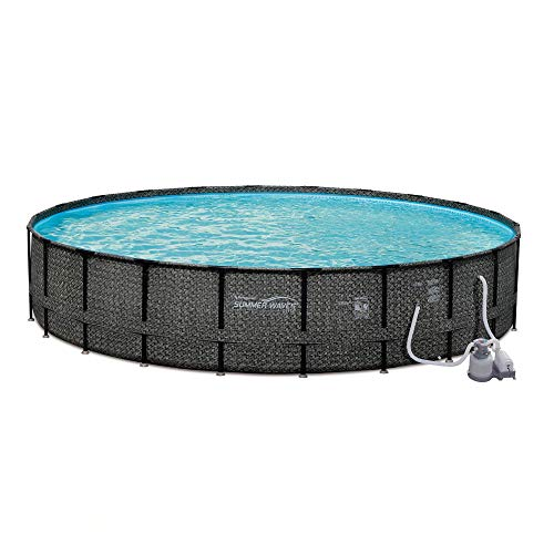 Summer Waves P4A024521 24ft x 52in Elite Round Above Ground Frame Outdoor Swimming Pool Set w/Sand Filter Pump, Pool Cover, Ladder, & Maintenance Kit -  77108