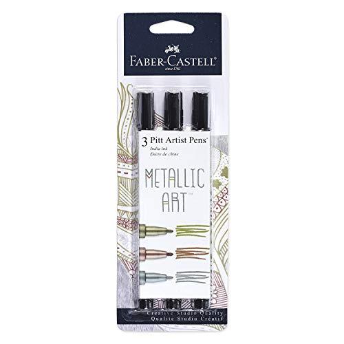 Faber-Castell Metallic PITT Artist Pens - 3 Colored Metallic Colors - Smooth Bullet Nibs (Classic Metallic)