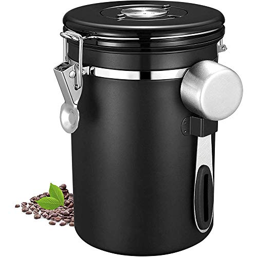 Foreverup Kaffeedose, Kaffeebehälter mit Edelstahl Löffel, 1.5L Aromadose Vorratsdose, Aromadose Vorratsdose für Kaffeebohnen Pulver Tee Nüsse Kakao (Schwarz)