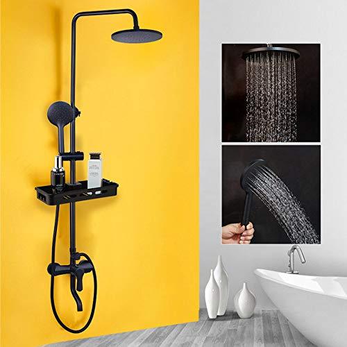 Badezimmer Duschmischer Wasserhahn Black Rainfall Duscharmaturen Set Einhebel Badewanne Duschmischer Wasserhahn mit Ablagefach, Dusche A3