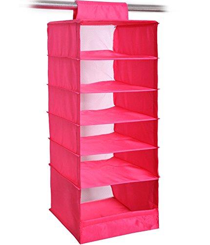 NKTM 6-Shelf Girls Closet Hanging Shelf Shoe Sweater Clothing Organizer for Students Children Pink 600D Oxford Fabric,10.3x11.8x33 inches