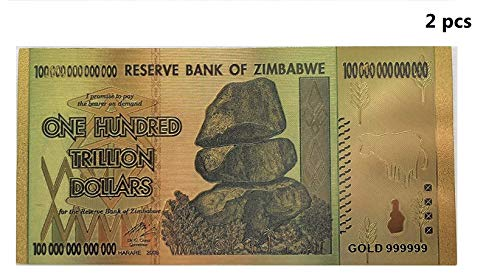 2 pcs Zimbabwe 100 Trillion Dollars 2019, World Inflation Record, Gold Foil Banknote for Collection Commemorative