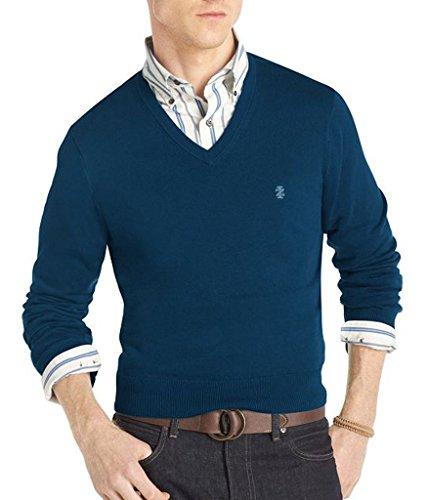 IZOD Men's V-Neck 100% Cotton Pullover Sweater Blue XLT