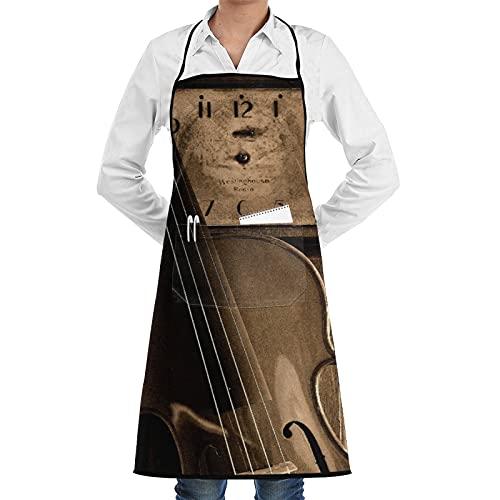 COFEIYISI Delantal de Cocina Música de violín Reloj antiguo Música de violín Violín Violín antiguo Violín viejo Delantal Chefs Cocina para Cocinar/Hornear