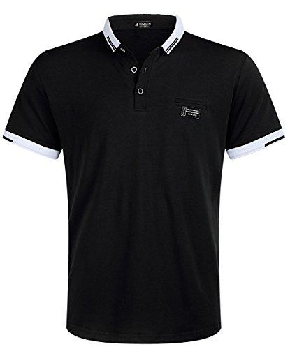 Musen Men Short Sleeve Polo Shirt Regular-Fit Cotton Golf Polo Shirts (Black, Small)