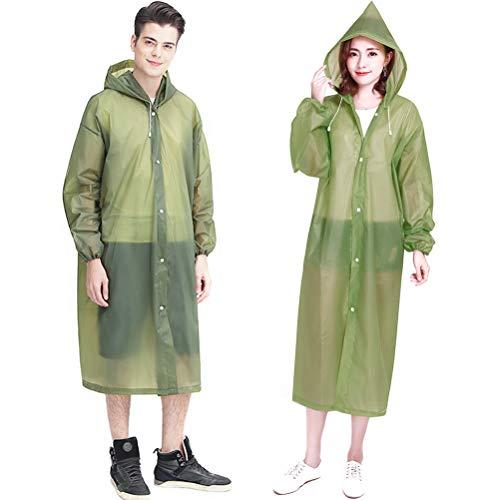 Draagbare regenponcho, rubberen band-regenjas voor volwassenen, waterdichte regenponcho voor vrouwen en mannen, draagbare herbruikbare regenjas, voor school, camping, noodgevallen legergroen