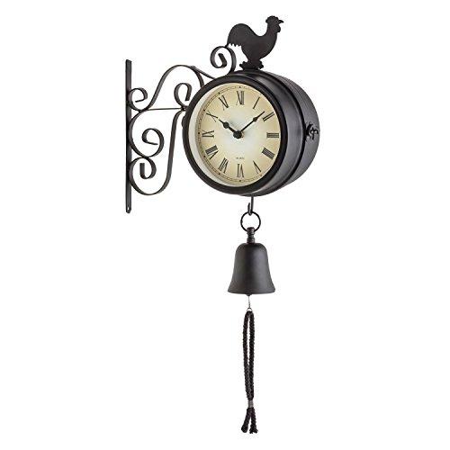 blumfeldt Early Bird Reloj Exterior estacion de Tren Antigua (Ø12cm diámetro, Doble Cara, termómetro Retro Grados Celsius y Fahrenheit, Campana jardín, Montaje Pared terraza, diseño Vintage Negro)