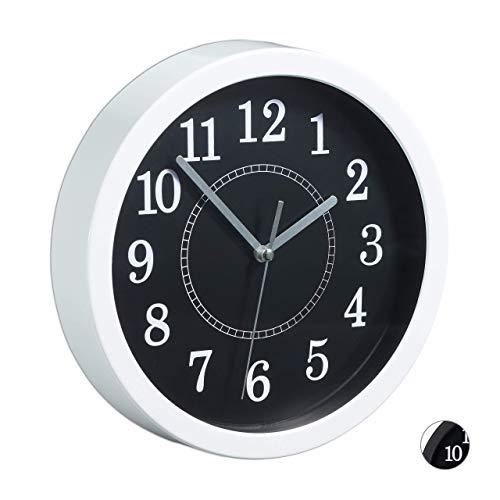 Relaxdays, Weiß Wanduhr rund, Ø 20cm, Kleine Uhr zum Aufhängen, Klassisches Design, batteriebetrieben, Sekundenzeiger