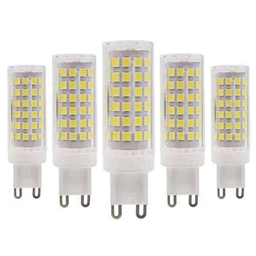 Bombillas de Base de Cerámica LED G9, 9W (Equivalente a Halógeno de 80W), 800lm, Blanca Frio 6000K, No Regulables, Paquete de 5