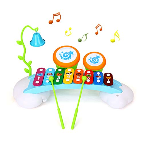 HOLA Baby Musical Instruments Toys for Toddlers 1-3, Kids Xylophone and Drum Set with Music Cards & Infant Safe Mallets, Perfectly Tuned Instrument Early Learning Birthday Gift for Child Boys Girls