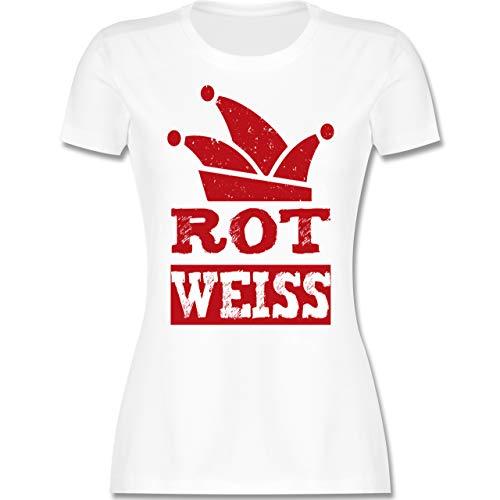 Karneval & Fasching - Rot Weiss Köln - L - Weiß - köln Kleidung - L191 - Tailliertes Tshirt für Damen und Frauen T-Shirt