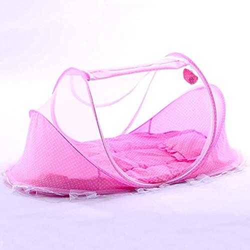 LLDKA Tienda con mosquitera emergente, colchón para Cama de bebé para mosquitera, mosquitera portátil Plegable para Cama de bebé, poliéster,Rosado